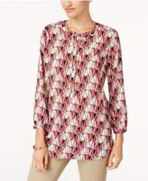 JM Collection Printed Pleated-Back Blouse, Created for Macy's