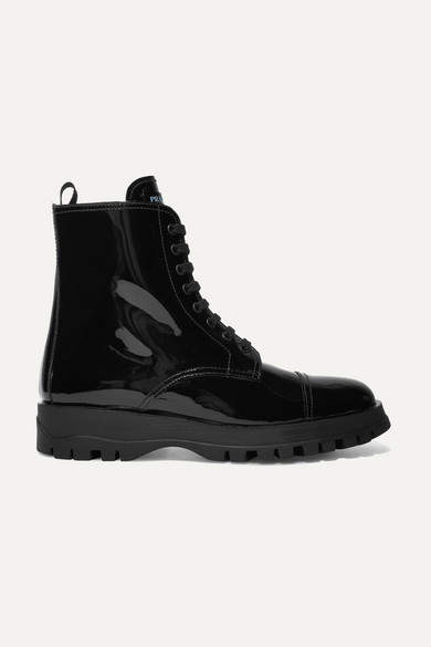 Prada Lace-up Patent-leather Ankle Boots - Black