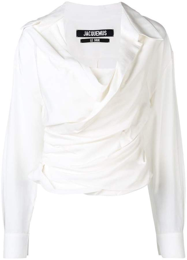 Jacquemus cropped wrap front shirt