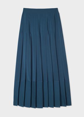 Paul Smith Women's Petrol Blue Silk Pleated Skirt