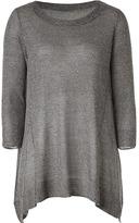 VINCE Slate Melange Side Draped Lightweight Sweater
