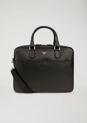 Emporio Armani Printed, Boarded Leather Briefcase With Shoulder Strap