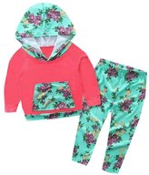 Orangeskycn Infant Kids Baby Boys Girls Clothes Hooded Floral Tops Outfits Set (6-Months, )