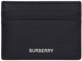 Burberry Navy Grained Business Card Holder