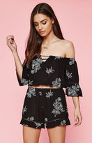 KENDALL + KYLIE Kendall & Kylie Embroidered Floral Off-The-Shoulder Crop Top