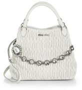 Miu Miu Nappa Crystal Matelasse Leather Tote