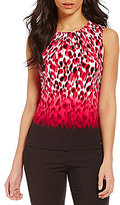 Calvin Klein Ombre Border Animal Print Pleat Neck Matte Jersey Shell