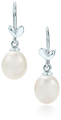 Tiffany & Co. Paloma Picasso Olive Leaf drop earrings in sterling silver with pearls