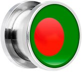 """Body Candy Stainless Steel Flag of Bangladesh Screw Fit Plug Pair 9/16"""""""