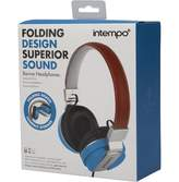 intempo Leather Effect Headphones Blue