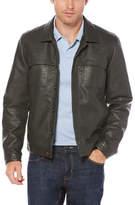 Perry Ellis Faux Leather Trucker Jacket