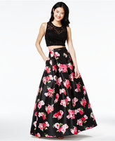 B. Darlin Juniors' 2-Pc. Floral-Print A-Line Gown, A Macy's Exclusive Style