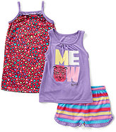 Komar Kids Little/Big Girls 4-16 Meow Tank, Striped Shorts, & Animal-Print Gown 3-Piece Pajama Set