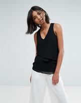 Vero Moda V Neck Top With Asymmetric Hem
