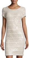 Donna Ricco Sequin-Stripe Sheath Dress, Nude