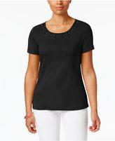 Karen Scott Strap-Embellished Top, Created for Macy's