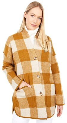 Madewell Buffalo Check Sweater Coat (Heather Parchment) Women's Clothing