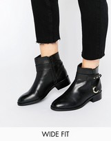 Asos AZURE Wide Fit Leather Ankle Boots