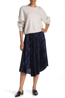 Vince Winter Tie Dye Pleated Midi Skirt