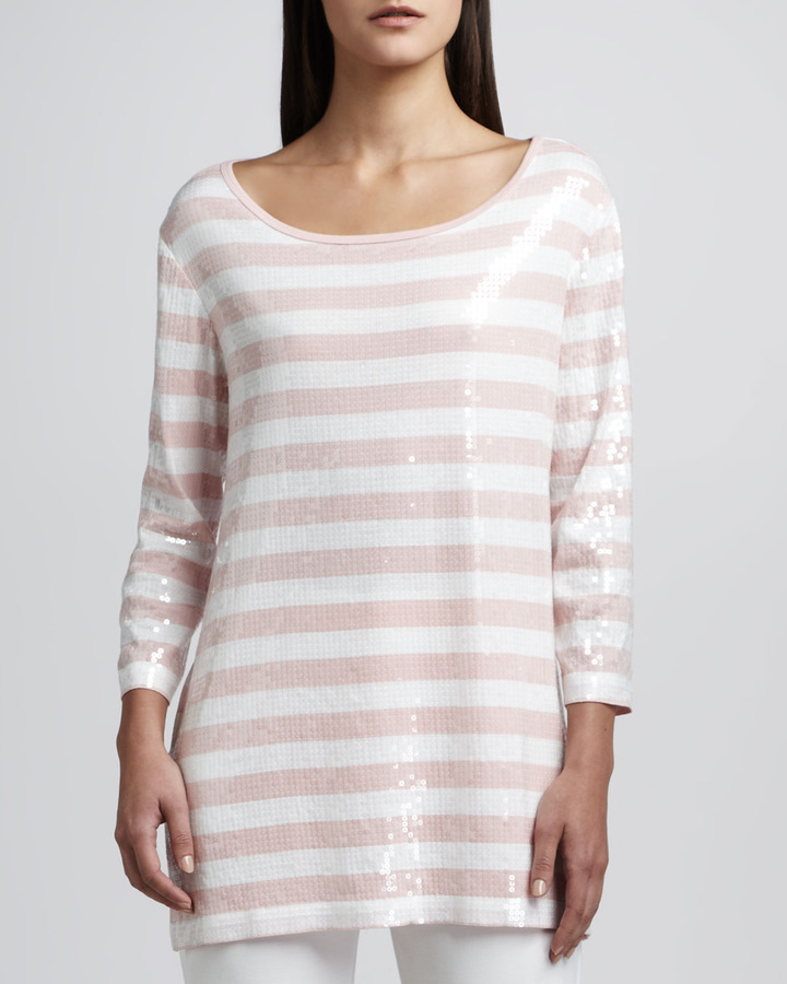 Joan Vass Sequined Striped Tunic, Classic