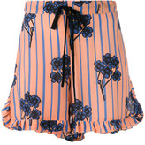 L'Autre Chose ruffle trim floral print shorts - women - Silk - 38