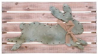 Transpac Wood Brown Easter Rustic Wall Art with Metal Bunny