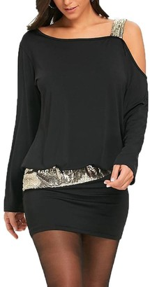 TUDUZ Women Summer Sexy Strapless Cold Shoulder Sequins Bling Mini Blouson Dress (Black L2)