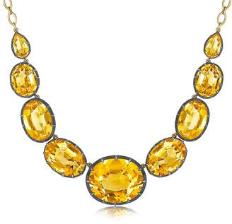 Fred Leighton 18kt yellow gold and oxidised sterling silver Signed citrine necklace