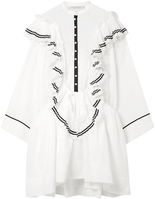 Philosophy di Lorenzo Serafini Ruffled Cotton-voile And Point D'esprit Mini Dress
