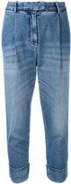Eleventy drop-crotch folded hem jeans - women - Cotton/Spandex/Elastane - 28