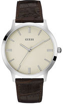 GUESS Polished Stainless Steel Croc-Embossed Leather-Strap Watch- U0664G2