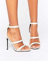Missguided Multi Strap Satin Heeled Sandals