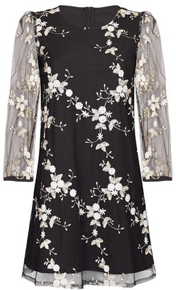 Yumi Embroidered Floral Mesh Dress