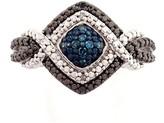 Savvy Cie Pave Blue Diamond Ring - 0.08 ctw