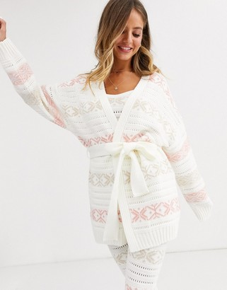 Asos Design DESIGN christmas fairisle edge to edge chunky cardigan-Multi