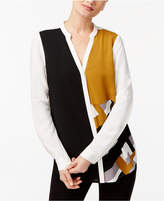 Alfani Colorblocked Y-Neck Blouse, Created for Macy's