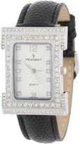 Peugeot Women's 344BK Silver-Tone Swarovski Crystal Accented Black Leather Strap Watch