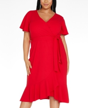 Quiz Plus Size Ruffled Fit & Flare Wrap Dress