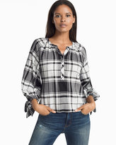 White House Black Market Black & White Plaid Popover Blouse