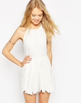 Asos Premium Halter Romper with Embroidery and Tie Back
