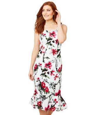 Joe Browns Womens Vintage Bodycon Floral Peplum Dress White 6