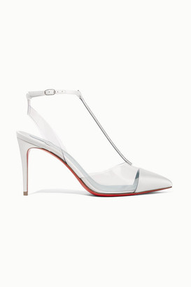 Christian Louboutin Nosy 85 Crystal-embellished Satin And Pvc Pumps - White