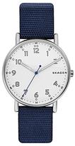Skagen Skw6356 Signatur Fabric Strap Watch, Navy/white
