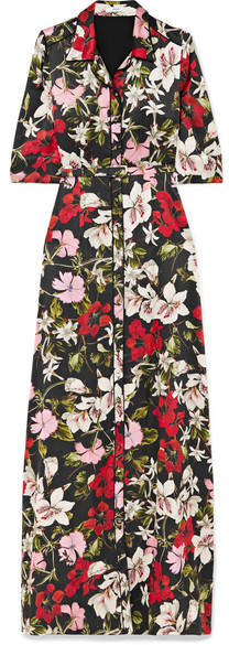 Erdem Karissa Floral-print Silk-satin Gown - Black