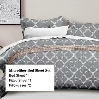 Hgmart HGMart Bed Sheet Set Collection - 4 Piece Brushed Microfiber Bedding Sheet Set - Fade and Stain Resistant Hypoallergenic Deep Pocket Bedspread Set - Gray, King Size
