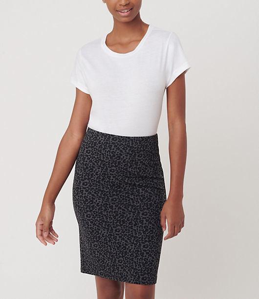 LOFT Leopard Print Pull On Pencil Skirt