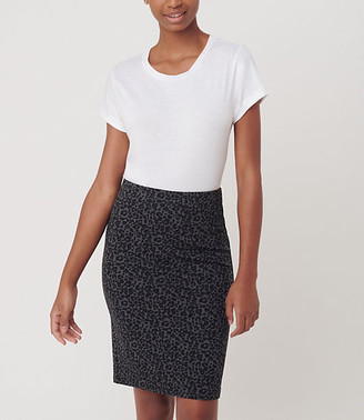 LOFT Leopard Print Pull On Pencil Skirt