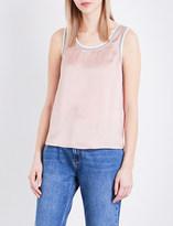 Claudie Pierlot Trip silk-satin and jersey top