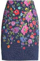 Oscar de la Renta Floral-Print Cloqué Mini Skirt
