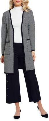 Joan Vass Herringbone Long Wool Cardigan